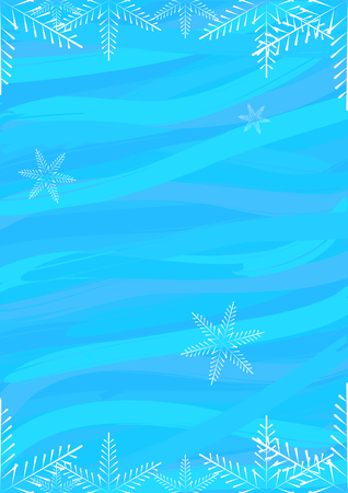 white: Blue abstract background with white snowflakes