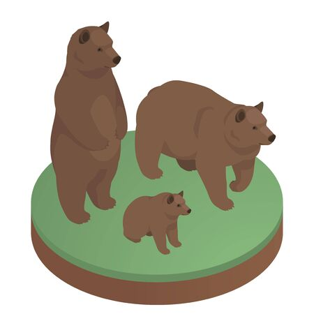 Brown bears isometric illustration. Stock vector. Two adult bears and their cub. Bear standing on his hind legs. Vector Illustration