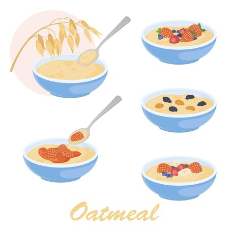 Oatmeal porridge illustration set with different toppings. Stock vector isolated on white background. Healthy food design. Oat and oatmeal icon. Ilustração Vetorial