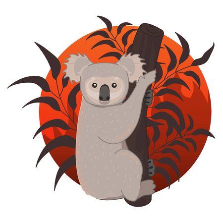 Koala de dessin animé dans la forêt en feu. Priez pour l'Australie, sauvez le koala, sauvez l'illustration vectorielle de la forêt.