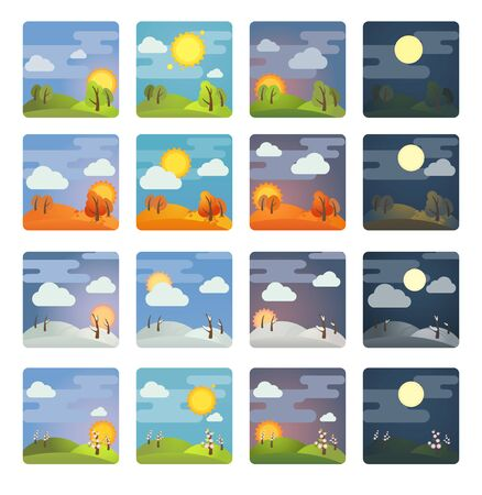 Set von quadratischen vier Jahreszeiten und vier Tageszeiten: Sommer, Winter, Frühling, Herbst, Morgen, Tag, Abend, Nacht. Vektorillustration auf Lager. Isoliert auf weißem Hintergrund.
