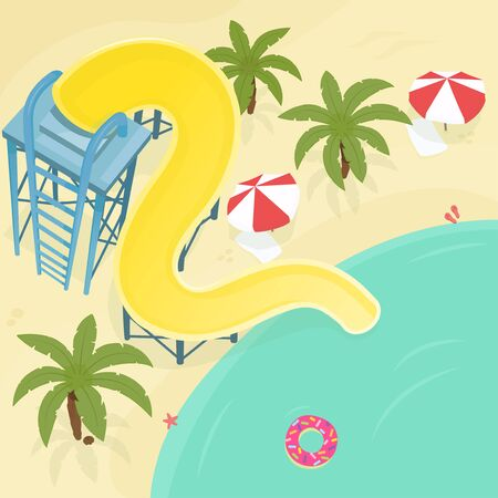 Water slide illustration. Stock vector. Water slide on the sea beach with palm trees and beach umbrellas. Top view. Ilustração