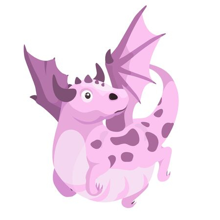 Cute cartoon flying dragon. Vector illustration isolated on white background.