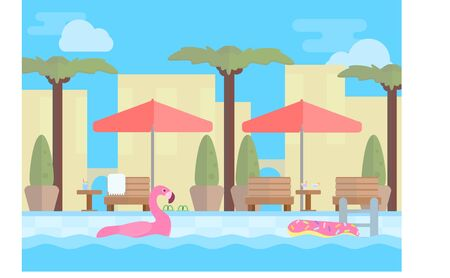 Hotel resort illustration. Open-air swimming pool with blue water,sun loungers, tables, beach umbrellas and palm trees. Stock vector.