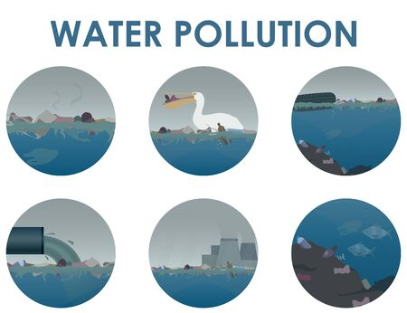 Water pollution round icon set. Stock vector illustration. Different garbage and slime in the water, industrial pipe polluting water, pelican with waste inside the beak, seabed pollution. Eco concept.