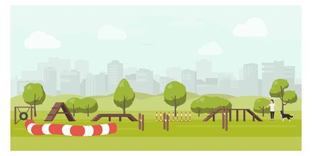 Agility track in city park flat illustration. Dog playground vector.Woman training dog in public park.Training equipment