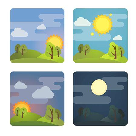 Satz von quadratischen vier Tagessymbolen: Morgen, Tag, Abend, Nacht. Vektorillustration auf Lager. Isoliert auf weißem Hintergrund. Vektorgrafik