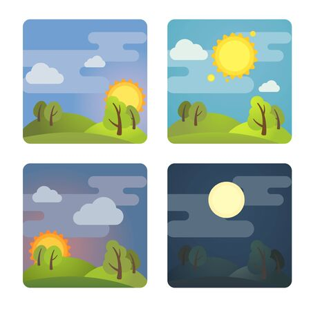 Set of square four times of day icons: morning, day, evening, night. Stock vector illustration. Isolated on white background.
