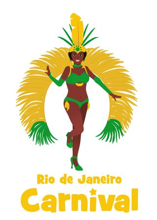 Brazilian samba dancer illustration. Stock vector isolated on white background. Beautiful woman in carnival costume at the festival in Rio de Janeiro.
