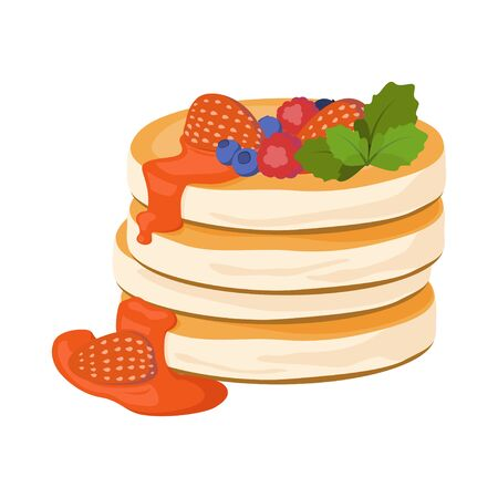 Pancakes vector illustration. Pancakes with berries and berry jam isolated on white background.