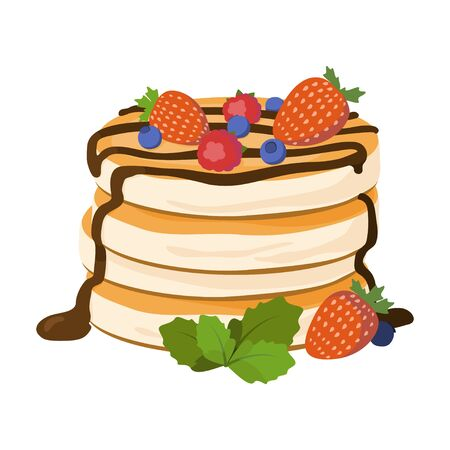 Pancakes vector illustration. Pancakes with berries and chocolate isolated on white background. Ilustração