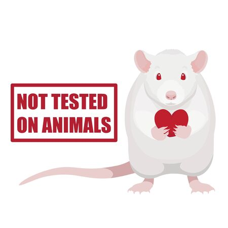 Not tested on animals symbol. White rat holding red heart vector illustration and stamp with text.
