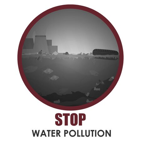 Stop water pollution round banner. Stock vector illustration in red round frame with text. Different garbage and slime in the water. Environment protection concept. Trash emission and water pollution. Ilustrace