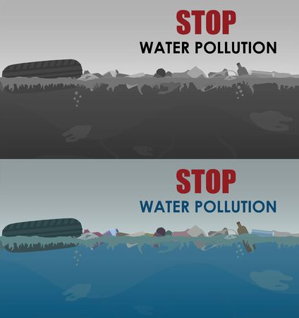 Stop water pollution illustration. Stock vector. Different garbage and slime in the water. Eco concept. Trash emission and water pollution horizontal banners with text. Ilustração