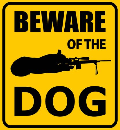 Beware of the dog sign. German shepherd with sniper rifle silhouette, vector illustration. Black and yellow warning sign.