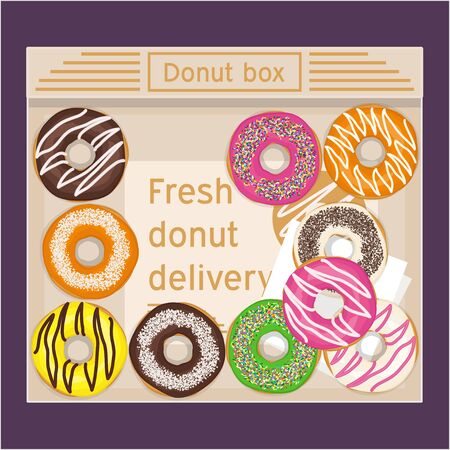 Box of donuts vector illustration. Donut delivery.