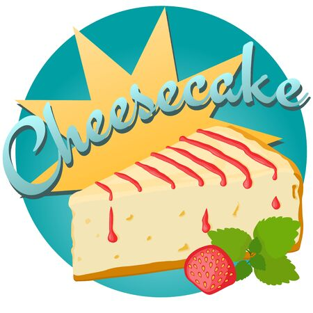 Cheesecake with strawberry and mint leaves vector illustration. Иллюстрация