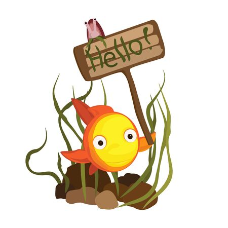 Cute cartoon goldfish vector illustration.