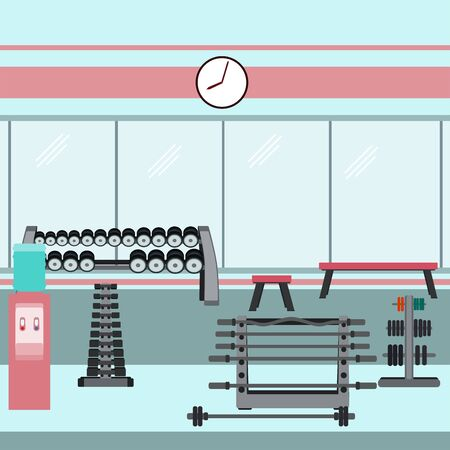 Gym interior with dumbbells, barbells and weights. Vector illustration in flat style. Ilustrace