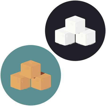 Illustration of white and brown sugar cubes. Round vector icon.