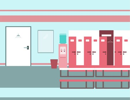 Interior of a gym locker room. Fitness club dressing room. Vector illustration in flat style.