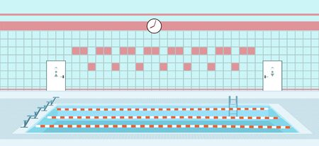 Swimming pool interior. Vector illustration in flat style.