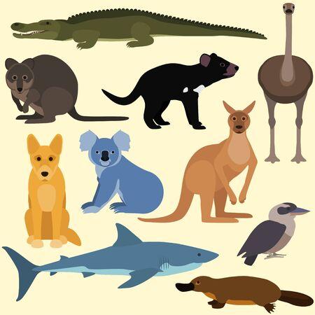 Set of cartoon australian animals. Vector illustration of red kangaroo, crocodile, kookaburra, platypus, dingo, white shark, koala, quokka, tasmanian devil, emu.
