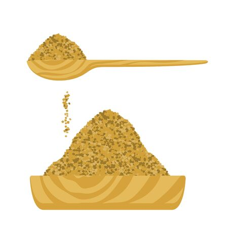 Vector illustration of a brown sugar in a wooden bowl and in a wooden spoon. Ilustração