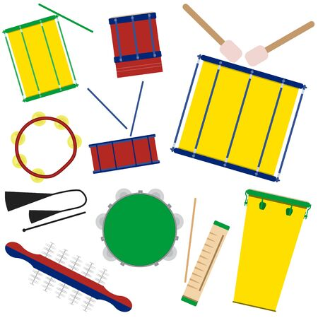 Vector illustration of brazilian samba batucada drums and percussion instruments. Brazilian carnival samba music instruments.