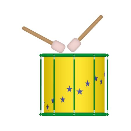 Vector illustration of brazilian samba batucada drum. Brazilian carnival samba music instrument.