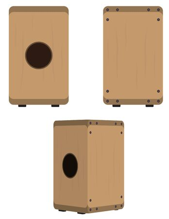 Vector illustration of cajon drum on white background. Ilustracja