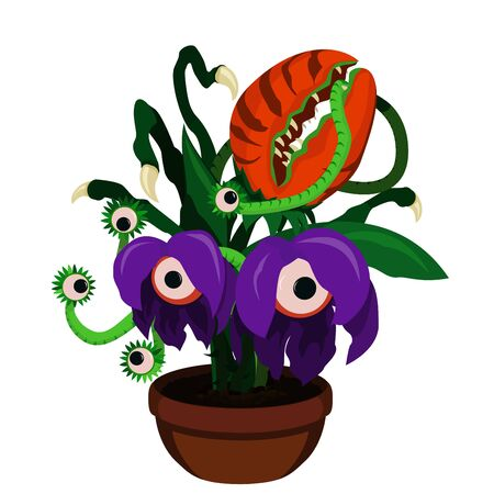Vector illustration of cartoon scary monster plants in flower pot. Predator plants.