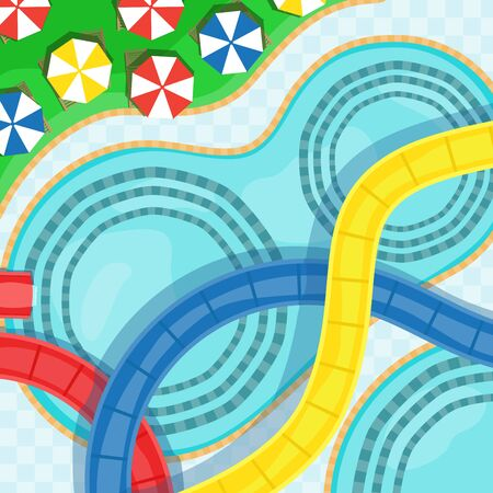 Water park with water slides, swimming pools and sun loungers vector illustration.