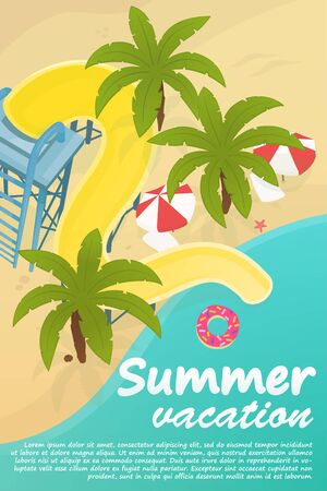 Summer vacation poster concept. Stock vector. Water slide on the sea beach with palm trees and beach umbrellas. Top view Ilustração