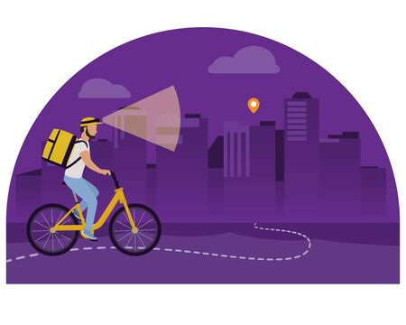 Night food delivery vector illustration. Courier man on bicycle with flashlight and yellow parcel box on the back.