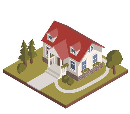Isometric cottage with garden illustration. Stock vector. Cozy private house icon, suburban building. Иллюстрация