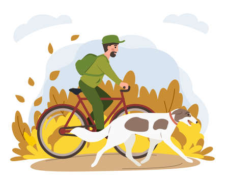 Man riding bicycle with dog in park. Stock vector. Sport and activity with dogs, healthy lifestyle.