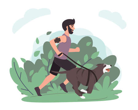 Young man running with dog in park. Stock vector. Sport and activity with dogs, healthy lifestyle.