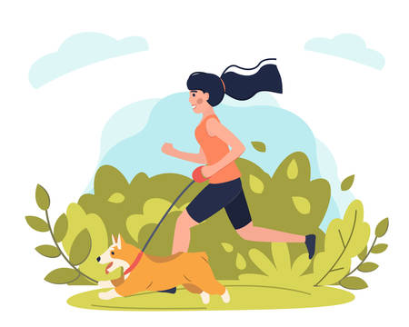Young girl running with dog in park. Stock vector. Sport and activity with dogs, healthy lifestyle.