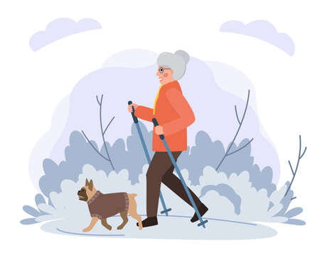Old woman walking with dog in park flat illustration. Stock vector. Sport and activity with dogs for the elderly people.