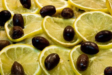 Lemon chicken with kalamatta olives Stock Photo