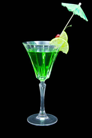Lime and vodka cocktail isolated on black background