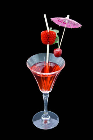 Raspberry cocktail isolated on black background