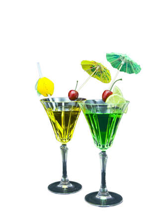 Two decorated cocktails isolated on white background