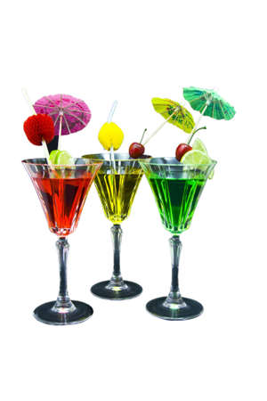 Three cocktails decorated isolated on white background Stock Photo