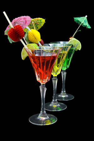 Three cocktails in a row isolated on black  background Stock Photo - 3040416