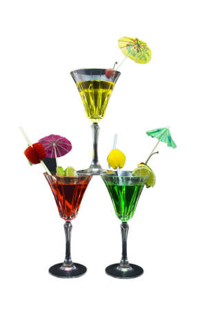 Three stacked cocktails isolated on white background Stock Photo - 3040424