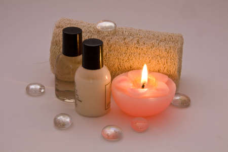 Spa items on soft pink backgrounde Stock Photo