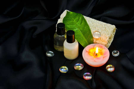 Spa items on black background Stock Photo