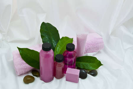 Spa items with green leaves